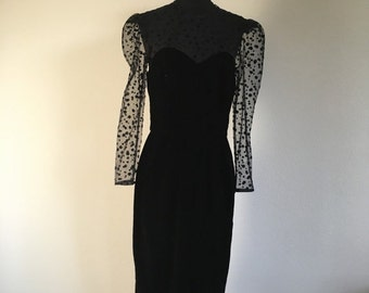 HALF OFF Vintage 1980s Black Swiss Dot Lace Long Sleeve Velvet Party Prom Cocktail Evening Dress M/L