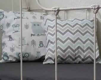 Mist Blue and Grey, Grey Owl Nursery Decor, Bumperless Crib Bedding, Blue boys crib set, Chevron Crib Bumper
