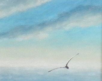 Gull in flight over the ocean original painting