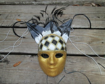 Masquerade Mask, OOAK, Harlequin, Halloween, Golden Mask, black gold and white, hand sculpted, black and gold, Fancy mask, handmade