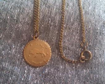 Taurus Horoscope Gold Tone Necklace