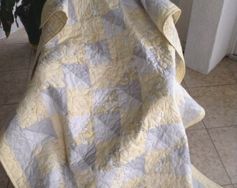 "Yellow/Light Grey/White Quilt - 53"" x 75"" - Contemporary/Modern Quilt - Ready to Ship"