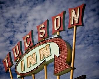 Tucson Inn Neon Sign Photo - Mid Century Modern Decor - Neon Motel Sign - Fine Art