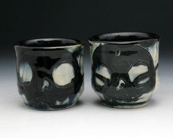 Skull Shot Cup Set, Two Double Black Skulls Painterly Shot Glasses