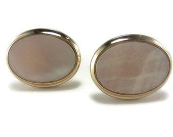 Vintage Mother of Pearl Cuff Links, Gold Tone Cuff Links, Abalone Cufflinks, Mens Jewelry, Vintage pearl cufflinks