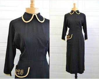 1940s Paulette Black Monogrammed Dress