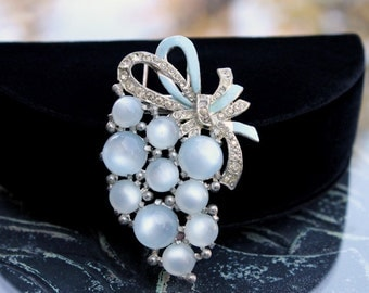 Fabulous Coro Fur Clip - Blue Moonglow Lucite Cabs and Rhinestones