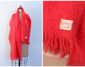 vintage 50s neon Scottish mohair blanket shawl - extra wide scarf / Tangerine Orange - Scotland / 1950s - mid century