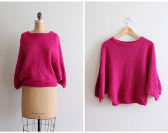 mohair batwing 80s sweater - magenta mohair sweater / Rafique - vintage 80s fuschia sweater / New Wave sweater - hot pink ladies sweater
