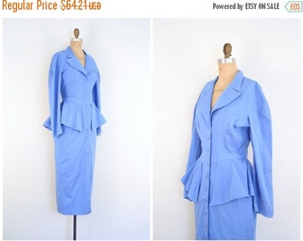 SALE / cornflower blue 80s peplum dress - 1980s dress / Foxy Lady - pencil skirt / New Wave - 80s dress