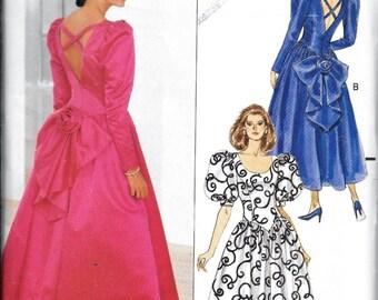 Vintage Butterick Glamour Dropped Waist DRESS Sewing Pattern Bridal Evening Size 6, 8 10 UNCUT