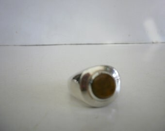Vintage Sterling Silver 925 Ring Tiger Eye Ring Taxco Ring Mexico Ring Man Ring
