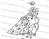 50% OFF Mouse Eating Cheese Digital Stamp Image