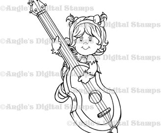 Little Lila With Playing Instrument Digital Stamp Image