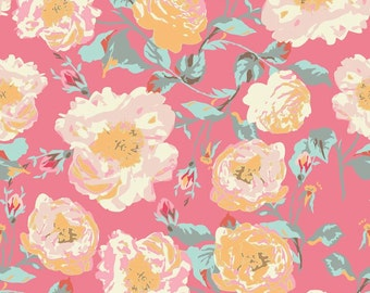 Emily Taylor for Riley Blake Designs - CHATSWORTH - Main Floral in Coral - Cotton Fabric