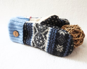 Wool Mittens BLUE & WHITE Nordic / Fair Isle Sweater Wool Gloves Sweater Mittens Fleece Lined Scandinavian Design Gift Under 50 WormeWoole