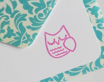NEW Set of 3 Stationery - Bright Pink Fuschia Birds with Teal Aqua Blue Damask Designs - Bright and Colorful - Sweet Owl
