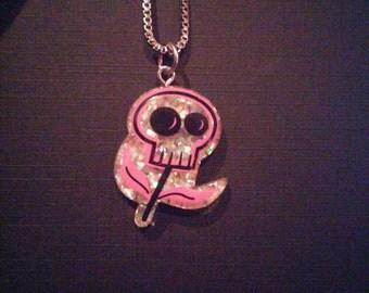 Pink Flower Head Necklace