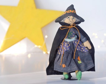 Vintage Winifred the Witch doll, Hallmark 1979 holiday series, 1970s, 7 inch stuffed cloth doll toy, Halloween decoration, black, orange