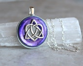 purple celtic sister knot necklace, heart jewelry, triquetra necklace, celtic jewelry, unique gift, celtic knot, irish jewelry, womens gift