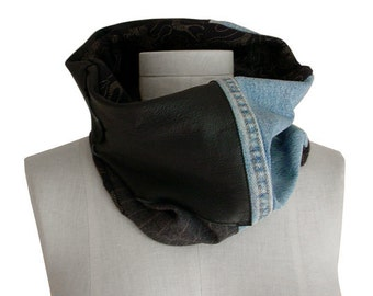 Black leather scarf - Upcycled Denim - Patchwork scarf - Cowl scarf - Wool scarf - Mens Cowl - Womens Neckwarmer - Patchwork Cowl Scarf ook