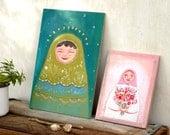 Whimsical art, folk painting, pink and green, acrylic art, whimsical fantasy art, nursery art, gift for bride, Girls room, matryoshka art