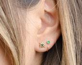 Tiny Lab Emerald Hug Hoops, Sterling Silver & Gold Plated, Gemstone Hug Earrings, Open Hoops, Minimalist Jewelry, Hand Made, Gift, EA030