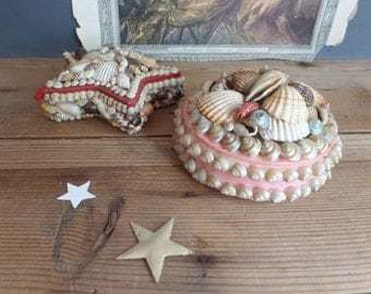Vintage FRENCH sea shell jewelry boxes trinket with red lining  French seaside souvenir