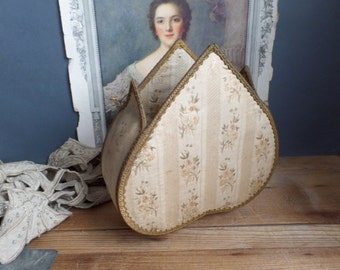 Vintage French silk covered box Heart Shape Old fabric late 1800s