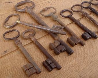 Old FRENCH skeleton keys  Instant collection Rusty old keys Country farmhouse decor  Rustic