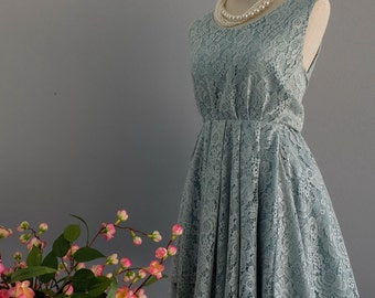 Sage green lace dress cocktail prom bridesmaid dress