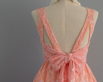 Party V Backless Peach Pink Lace Dress Backless Dress Pink Lace Dress Cocktail Party Prom Dress Peach Lace Bridesmaid Dresses XS-XL