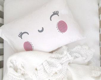 Smiling Face Pillow Case Toddler Pillow Toddler Bed Crib Pillow Childs Pillow Kids Pillow Kids Room PillowCase Good Night Sleep Tight