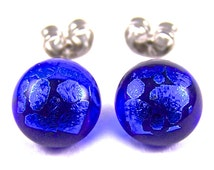 "Tiny Dichroic Stud Earrings - Blue Sapphire & Cobalt Blue Dicro Polka Dotted Abstract Patterned Dicro -  Clear Post Studs - 1/4"" 7mm"