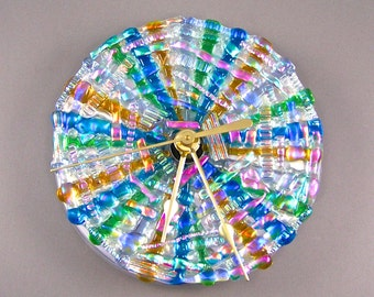 "Mosaic Clock - Dichroic Glass Medallion - Blue Pink Amber Green Opal Moonstone Fused Stained Glass Diamonds & Ice on CD - 5"" 13cm Round"