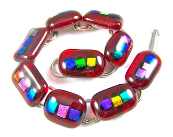 Dichroic Glass Gemstone Bracelet - Ruby Red Garnet Stained Fused Glass & Rainbow Colorful Multicolored Dichroic Blue Green Pink Gold Accents