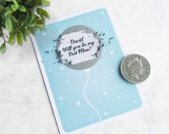 Be My Best Man? Balloon Scratch Card