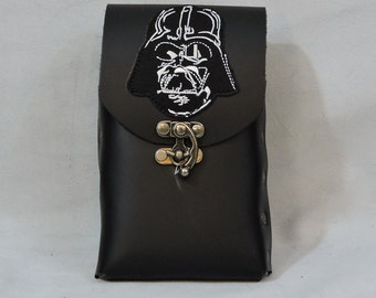 In Stock, Flask or Cell Phone Pouch, Black with Darth Vader Patch