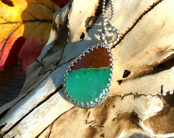 Chrysoprase and Sterling Pendant, Chakra Cleansing Pendant, yoga jewelry, autumnal equanox, apple green chrysoprase, rare chrysoprase