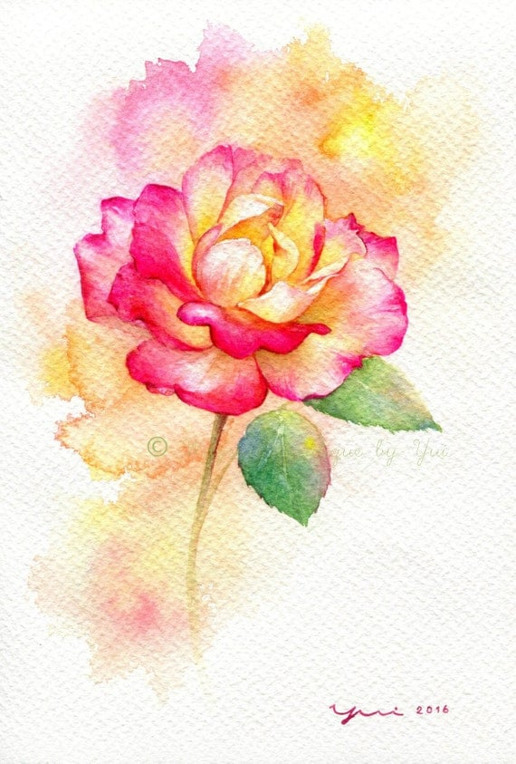 Rose original watercolor painting inches for How to paint a rose watercolor