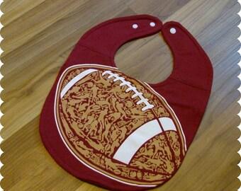 Football Sports Baby Bib Recycled T-Shirt, Baby Shower Baby Boy Gift, Sports Baby, New Baby Gift