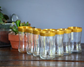 Eight Minton Tiffin - Franciscan Flat Juice Cups / Gold Encrusted Clear Optics