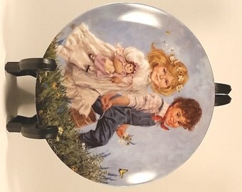 Jack and Jill Reco Collector Plate 1986 Boy Girl Mother Goose Series John McClelland Painted Plate Nursery Decor