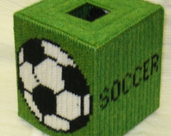 Soccer Tissue Box Cover Plastic Canvas Pattern