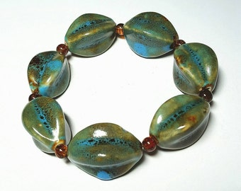 SALE Mediterranean Large Olive Green, Honey & Aqua Porcelain Unique Oval Shaped Beaded Stretch Bracelet w/Brown Cracked Beads FREE SHIPPING