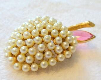 Designer BSK Signed Fruit Brooch, Lavender-Pink Bezel-ed Rhinestone and Small Pearls