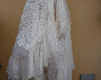 "20%OFF wedding bohemian boho gypsy lagenlook OAK shabby wrap skirt...38"" across plus ties."
