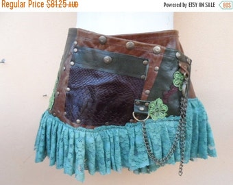 """20% OFF steampunk leather bohemian gypsy skirt belt with dog clip & with pocket ...36"""" to 44'' hips or waist..."""