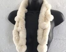 fur scarf, infinity, off white rabbit fur furry scarves, pom pom 90s