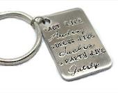 Hand Stamped Jewelry Keyring Key Chain - Gatsby - Audrey Hepburn - Jackie Kennedy